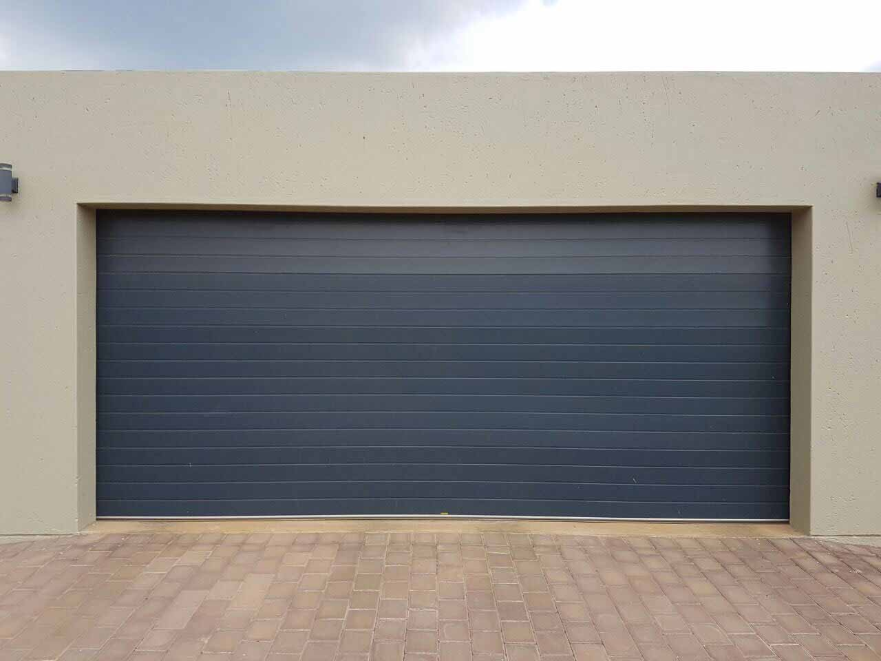 Double Blue Grey Aluminium Door