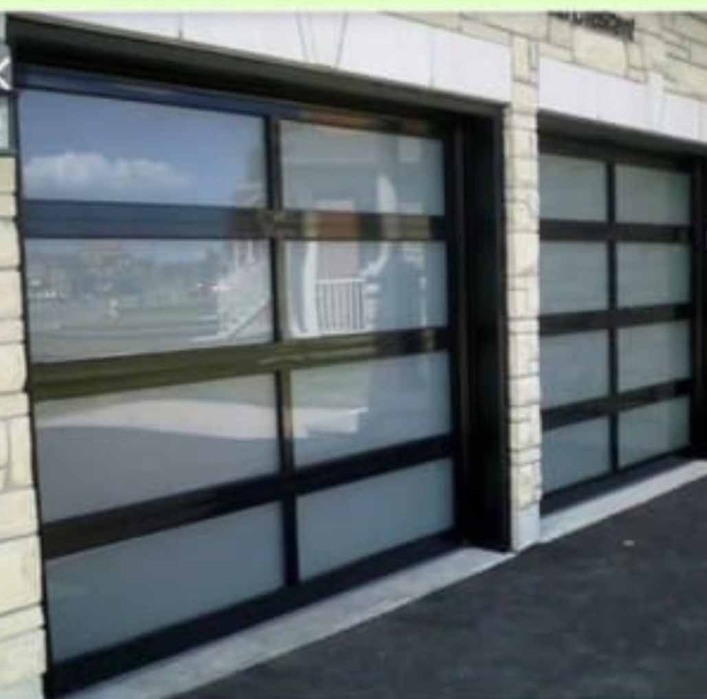 Single Aluminium 10 Panel Frosted Glass Door